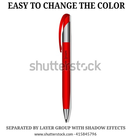 Red Pen. Detailed realistic vector pen icon. Illustration isolated from background. - stock vector