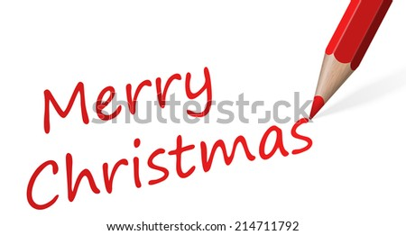 "red pen with text "" Merry Christmas "" - stock vector"