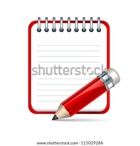Red Pencil and notepad icon. Vector illustration - stock vector