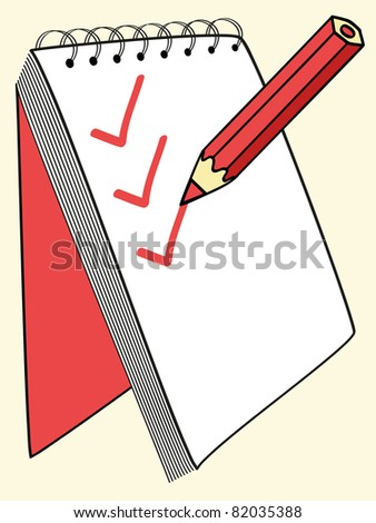 red pencil putting ticks at the notebook