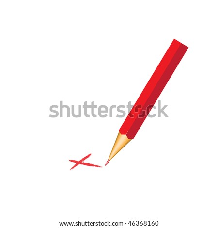 red pencil with check mark - stock vector