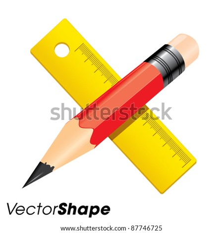Red pencil with yellow ruler, education concept, vector illustration - stock vector