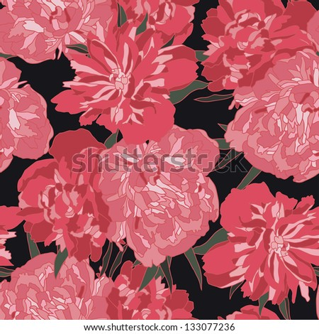 Red peony vector seamless pattern.