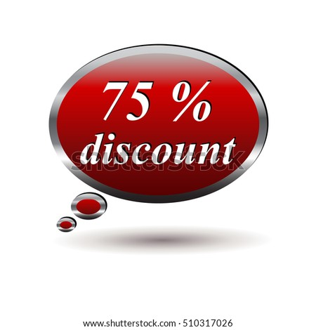 Red 75 percent discount speech bubble