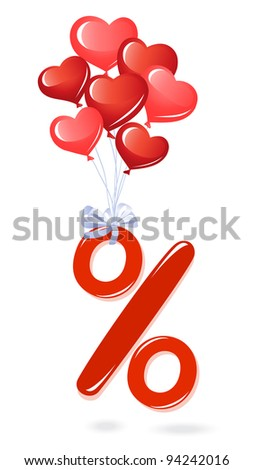 Red percentage symbol with heart balloons - stock vector