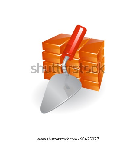 Red perforated ceramic brick and trowel isolated on white. - stock vector