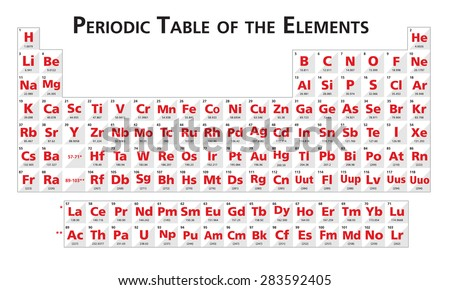 Red periodic table elements illustration vector stock vector red periodic table of the elements illustration vector universal no language urtaz Gallery