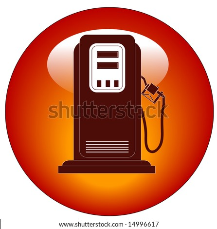red petrol or gas pump web button or icon - stock vector