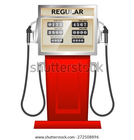 red petrol station in USA - stock vector