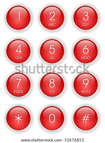 Red phone keyboard - stock vector
