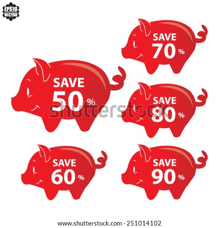 Red Piggy Bank Set For Save With 50, 60, 70, 80, 90 Percent OFF Discount Campaign Isolated on White Background - Vector Illustration. - stock vector