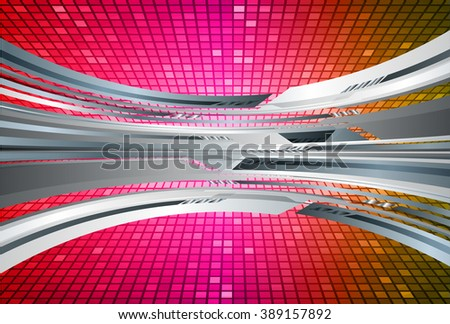 red pink yellow silver Light Abstract Technology background for computer graphic website internet. circuit. illustration. digital. infographics. binary code background. www. vector.online. pixel - stock vector