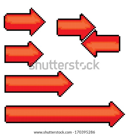 red pixel style arrow sign or button for web design - stock vector