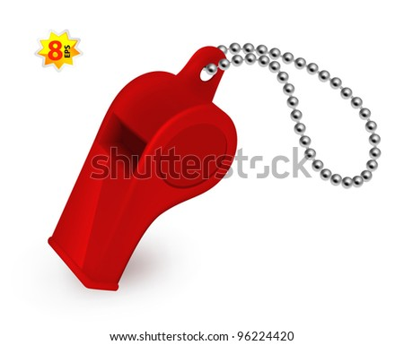 Red plastic whistle. Mesh and gradients only design. - stock vector