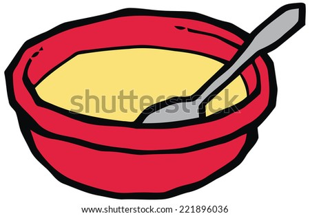 Red plate with spoon vector illustration. Set of kitchen items - stock vector
