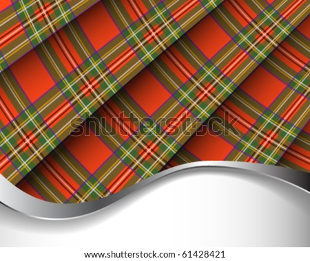 Red pleated Scottish plaid background/horizontal - stock vector