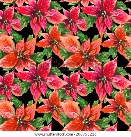 Red Poinsettia seamless pattern  - stock vector