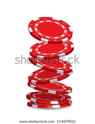 Red poker chips falling down over white background - stock vector