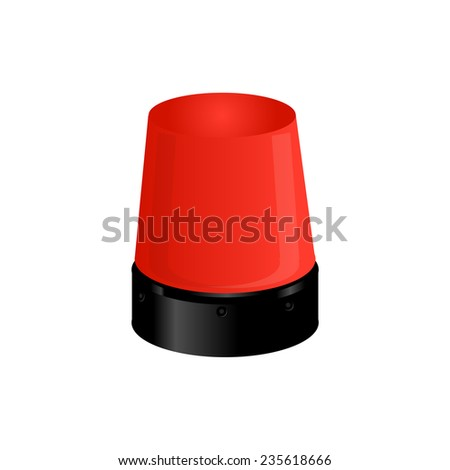 Red police light, emergency light,police siren, warning - stock vector