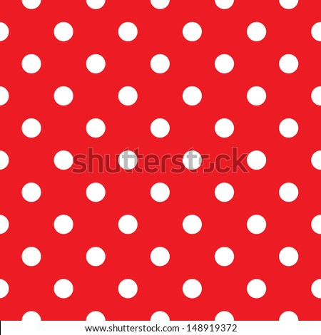 Red polka dot seamless pattern design - stock vector