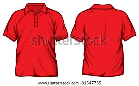 red  polo shirt - stock vector