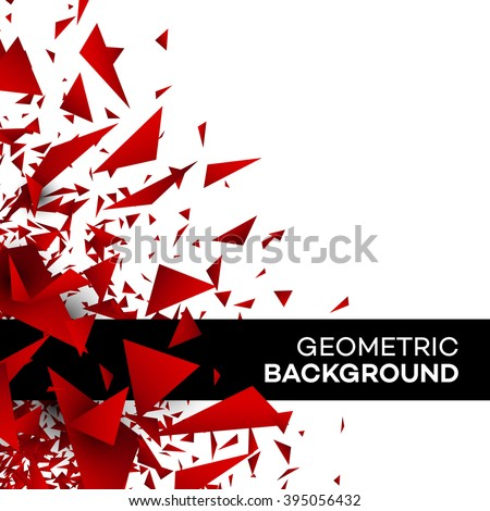 Red polygon background flyer template brochure triangle geometric design. Vector illustration EPS10 - stock vector