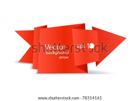 Red polygonal origami arrow banner. Place your text here - stock vector