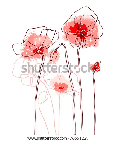 Red poppies on a white background - stock vector