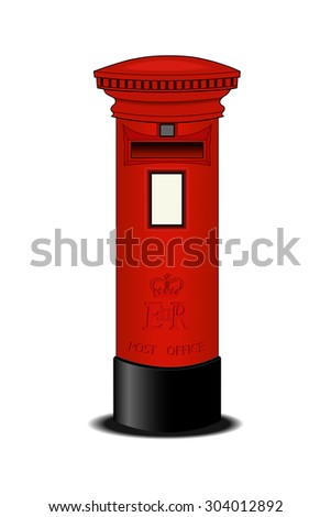 Red Post Box- Vector Illustration