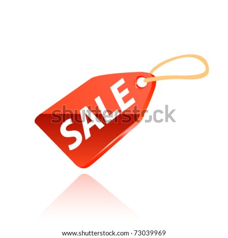 Red price tag. Vector - stock vector