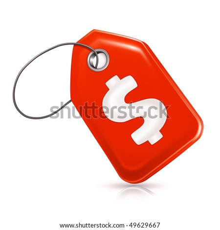 Red price tag with a dollar sign, vector - stock vector