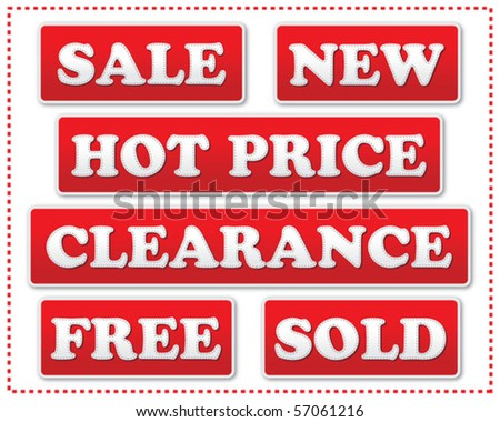 Red price tags - stock vector