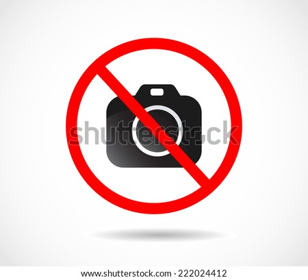 Red prohibition sign. No photo vector - stock vector