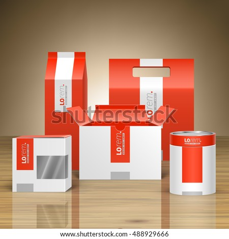 Red promotional package design for corporate identity with white vertical shape. Stationery set