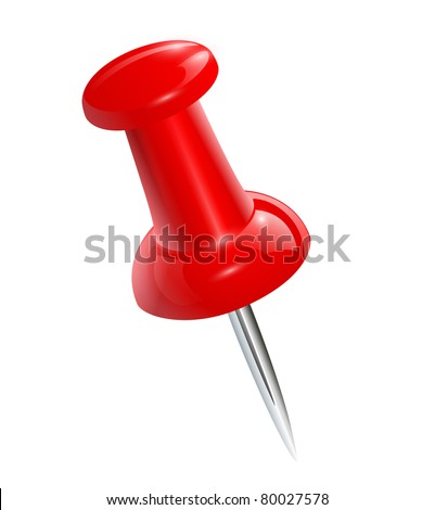 Red push pin isolated, vector. - stock vector
