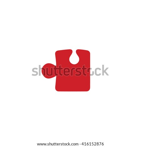 Red puzzle icon vector illustration. - stock vector