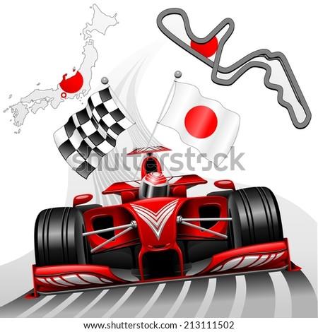 Red Race Car GP Suzuka Japan - stock vector