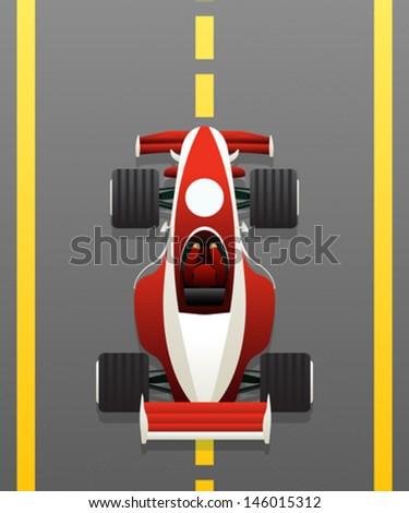 Red racing car vector - stock vector