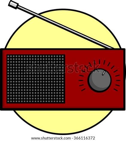 red radio - stock vector