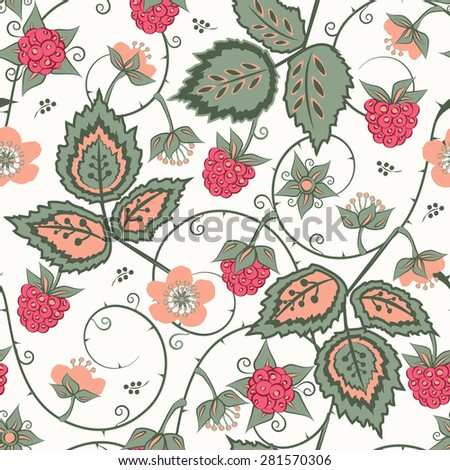 Red Raspberry seamless pattern. Bright summer vector background for textiles, pillow & interior decoration, web page background, wrapping paper, cosmetics, food & drink package decoration. Editable - stock vector