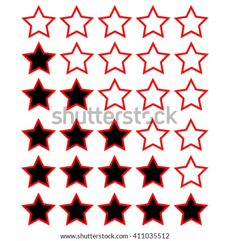 red rating stars with black and white - stock vector