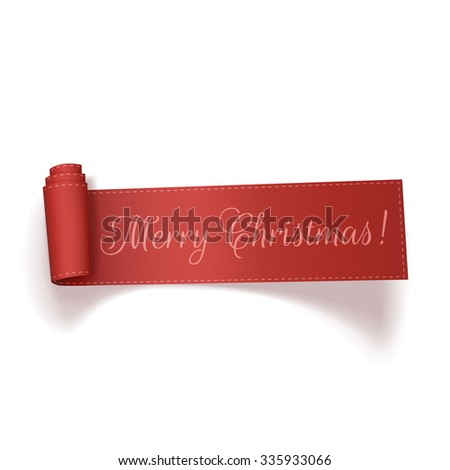 Red realistic textile curved Ribbon with Merry Christmas Text isolated on white background. Vector Illustration - stock vector