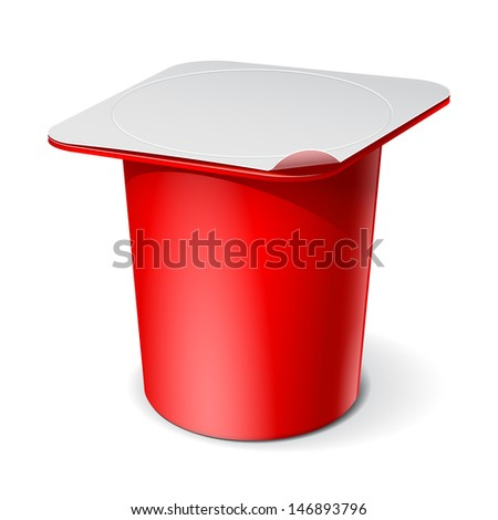 Red Realistic White blank plastic container for yogurt, jams and other products. Vector illustration - stock vector