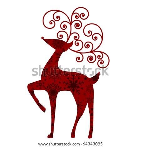 red reindeer - stock vector