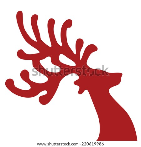 red reindeer head isolated background - stock vector