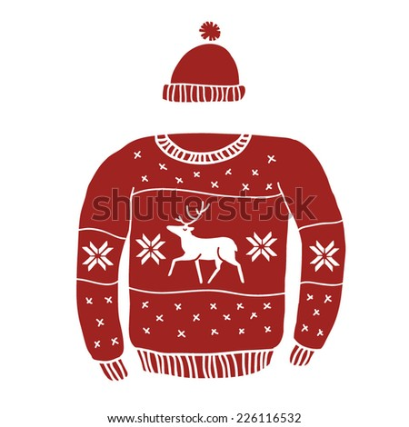 Red Reindeer Sweater  - stock vector