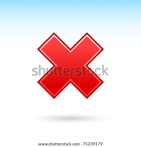 Red reject icon web 2.0 button with shadow on white background
