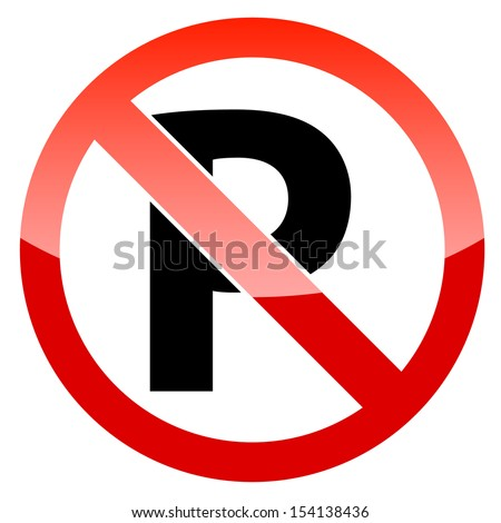 Red restricted warning vector graphic with restricted parking sign not allowed - stock vector