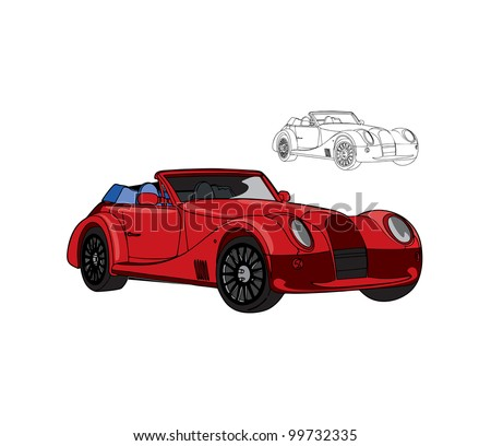 Red Retro Car Vector Illustration In Color And Outline Isolated On Background