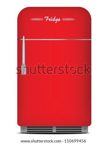 Red retro fridge. Vector illustration. - stock vector